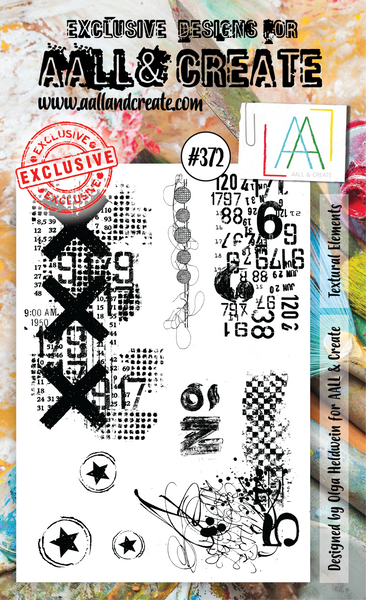 AALL & Create, #372, Textural Elements, A6 Clear Stamps, Designed by Olga Heldwein