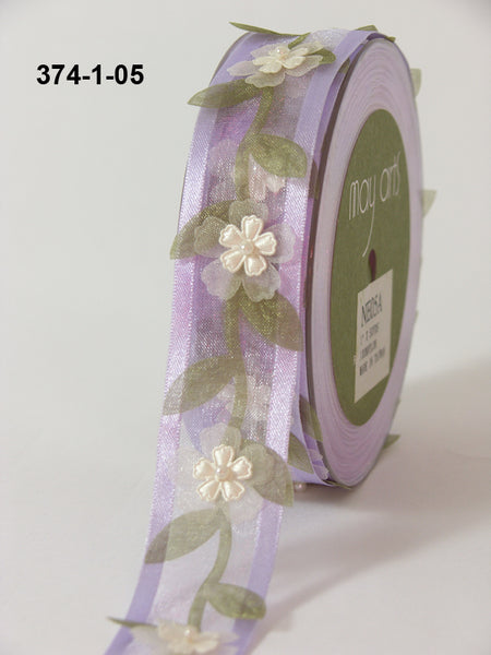 1 Inch Sheer / Floral Vine / Pearl Center Ribbon, Lavender - Scrapbooking Fairies