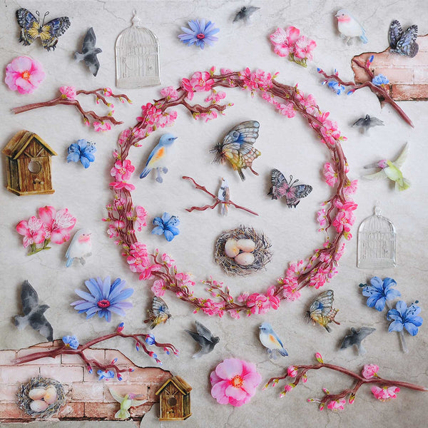 "49 & Market, Layered Plastic Embellishments 12""X12"", Wings & Things"