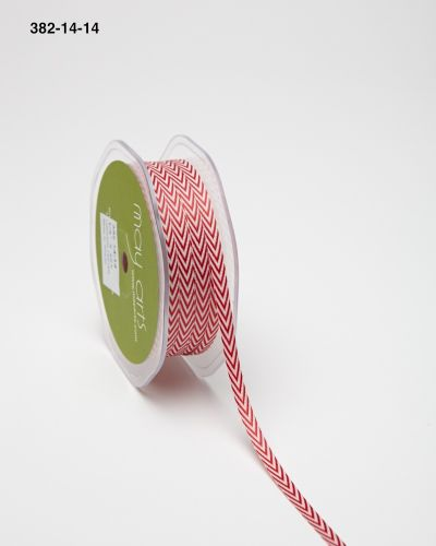 1/4 inch Twill Ribbon w/ Chevron Stripes, Red - Scrapbooking Fairies