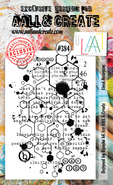AALL & Create, A6 Clear Stamp Set, Lined Hexagons, #384