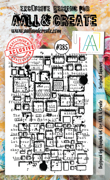 AALL & Create, A6 Clear Stamp Set, Scripted Squares, #385