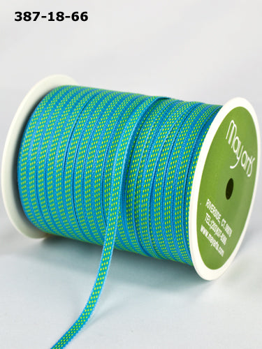 1/8 inch Solid /Center Stitches Ribbon, Turquoise/Parrot Green - Scrapbooking Fairies