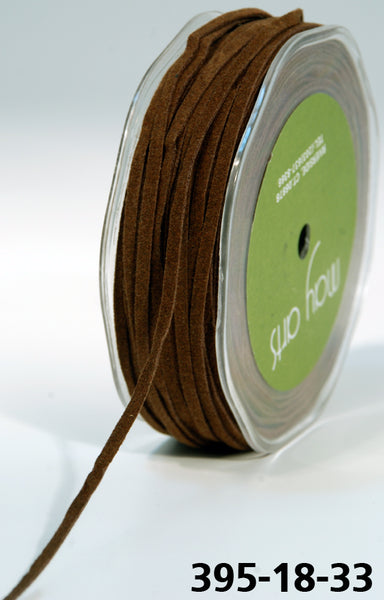 1/8 Inch Suede / String Ribbon, Brown - Scrapbooking Fairies