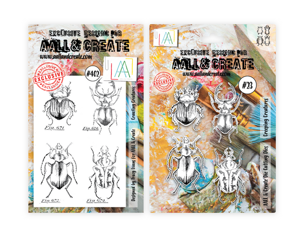 AALL & Create, Crowling Creatures, Stamp & Dies Set Combo, Designed by Tracy Evans, #402 & #23