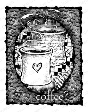 Impression Obsession, Coffee Collage, Cling Stamp - Scrapbooking Fairies