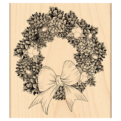 "Penny Black Mounted Rubber Wooden Stamp 4""X4.5"",  Pine Wreath"