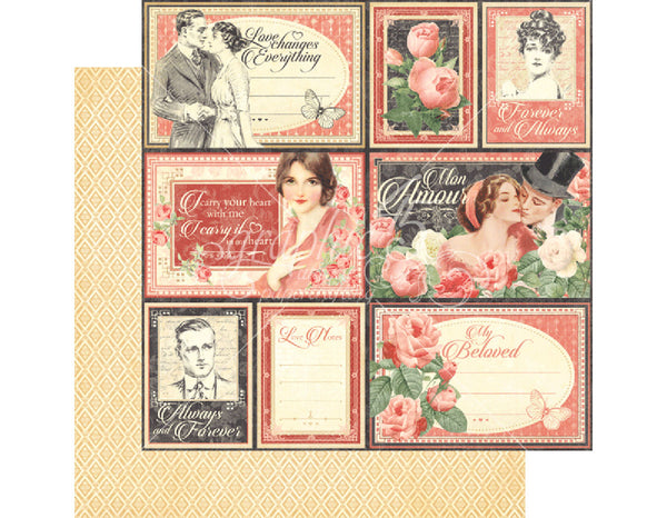 "Graphic 45, Mon Amour, Double-Sided Cardstock 12""X12"", My Beloved (Retired)"