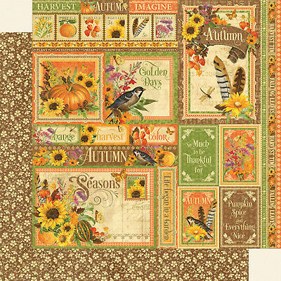 "Graphic 45, Seasons Collection, Double-Sided Cardstock 12""X12"", Autumn Collective"