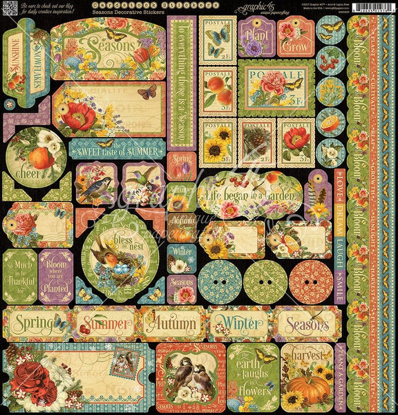 "Graphic 45, Seasons, Cardstock Stickers 12""X12"""