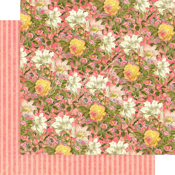 "Graphic 45, Floral Shoppe Double-Sided Cardstock 12""X12"", Pink Lilies"
