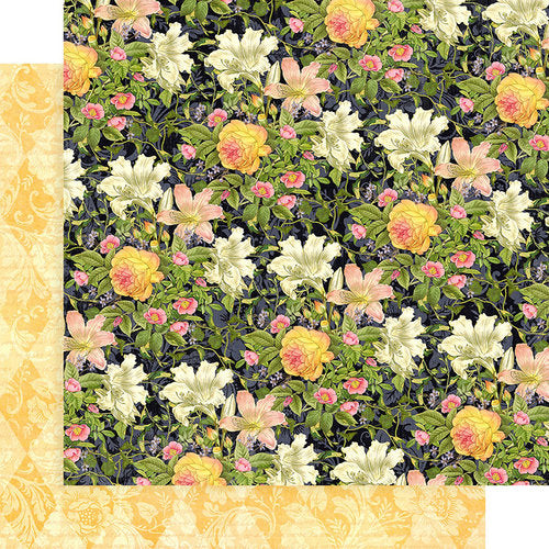 "Graphic 45, Floral Shoppe Double-Sided Cardstock 12""X12"", Indigo Lilies"