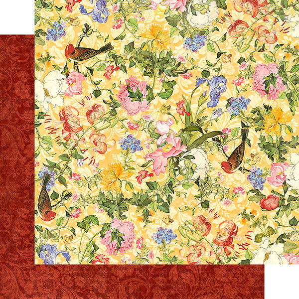 "Graphic 45, Floral Shoppe Double-Sided Cardstock 12""X12"", Golden Serenity"