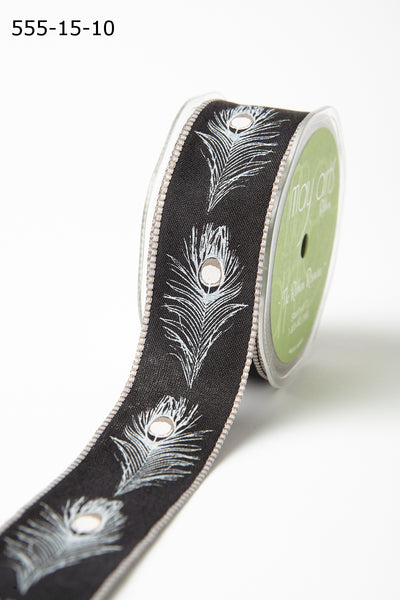 1.5 Inch Peacock Feather Ribbons with Woven Edges, Black Peacock Feathers - Scrapbooking Fairies