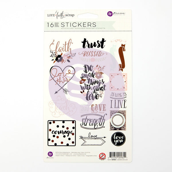 Prima Love, Faith, Scrap Planner Stickers, Phrase