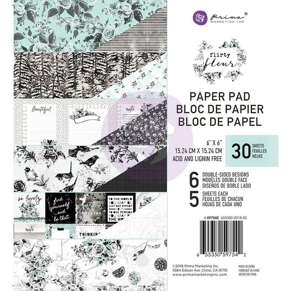 "Prima Marketing Double-Sided Paper Pad 6""X6"" 30/Pkg, Flirty Fleur, 6 Designs/5 Each"