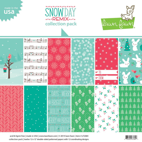 "Lawn Fawn Double-Sided Collection Pack 12""X12"" 12/Pkg, Snow Day Remix 6 Designs/2 Each"