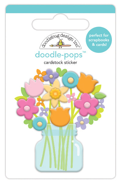 Doodlebug Doodle-Pops 3D Stickers, Bright Bunch