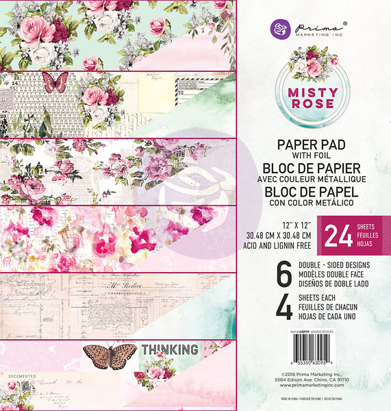 "Prima Marketing, Double-Sided Paper Pad, 12""X12"" 24/Pkg, Misty Rose, 6 Foiled Designs/4 Each"