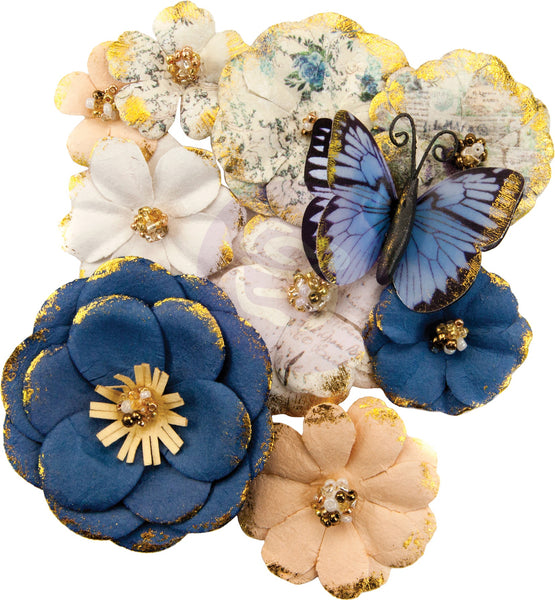 Prima Marketing, Mulberry Paper Flowers Madison/Georgia Blues, 10/Pkg