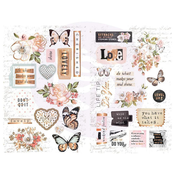 Prima Marketing, Apricot Honey, Chipboard Stickers 30/Pkg Icons W/Foil Accents
