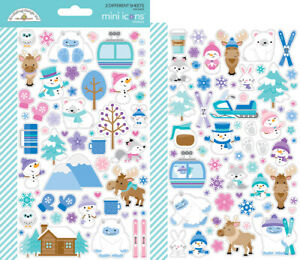 Dooblebug Mini Cardstock Stickers 2/Pkg, Winter Wonderland Icons