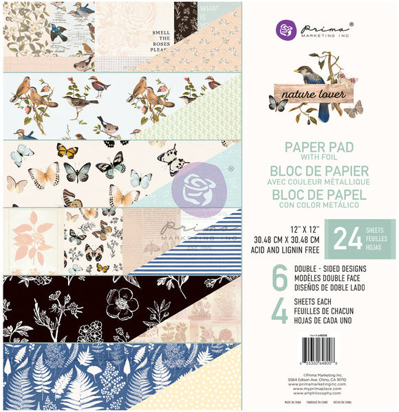 "Prima Marketing Double-Sided Paper Pad 12""X12"" 24/Pkg, Nature Lover, 6 Designs/4 Each"