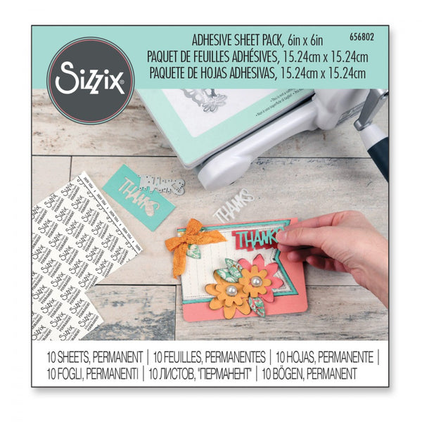 "Sizzix Adhesive Sheets, Double-Sided - 6"" x 6"", Permanent, 10 Sheets"