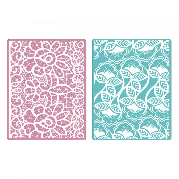 Sizzix Textured Impressions Embossing Folders 2PK by Rachael Bright - Bohemian Lace Set (Retired)
