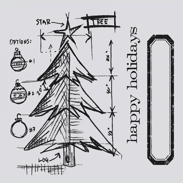 Sizzix Framelits Dies 6/Pkg W/Clear Stamps By Tim Holtz, Christmas Tree Blueprint (Retired)