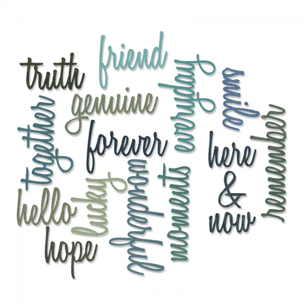 Sizzix Thinlits Die Set 16PK - Friendship Words: Script