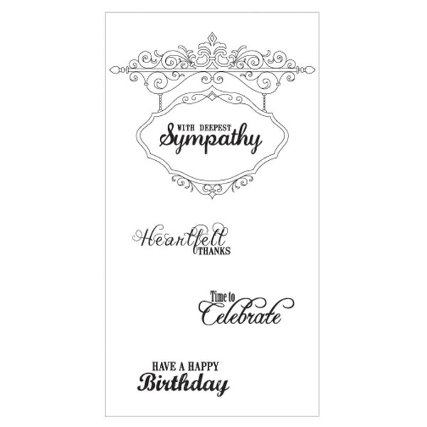 Sizzix Interchangeable Clear Stamps By Jen Long,  Hanging Sign W/Phrases