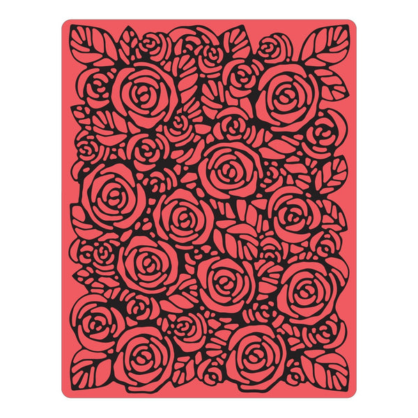 Sizzix Texture Fades A2 Embossing Folder, Roses By Tim Holtz