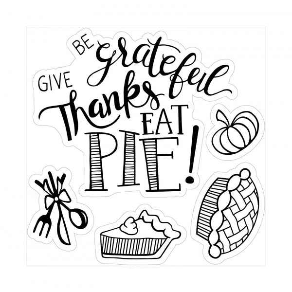 Sizzix - Lindsey Serata, Framelits Die Set 8PK w/Stamps - Give Thanks, Eat Pie
