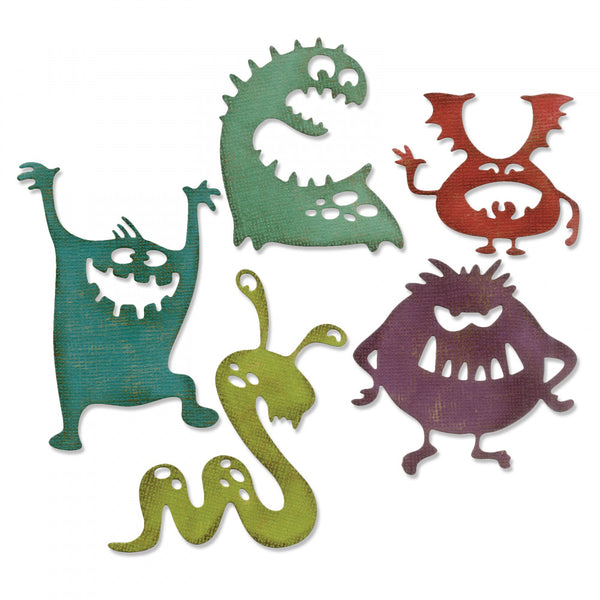 Sizzix Thinlits Dies By Tim Holtz 5/Pkg, Silly Monsters