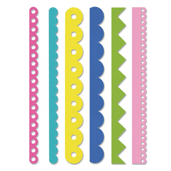 Sizzix - Stephanie Barnard, Edgelits Die Set 6PK, Scallops & Zigzags