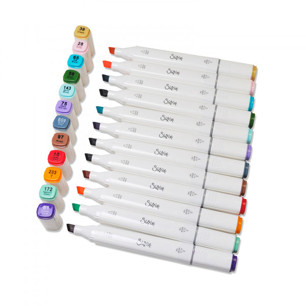 Sizzix Making Essential - Alcohol Permanent Markers/Pens, 12PK (Assorted Colors), Double Ended