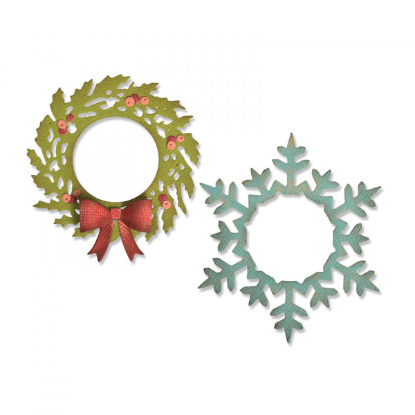 Sizzix Thinlits Dies By Tim Holtz, Wreath & Snowflake