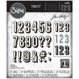 Sizzix Thinlits Dies By Tim Holtz 21/Pkg, Alphanumeric, Shadow Numbers