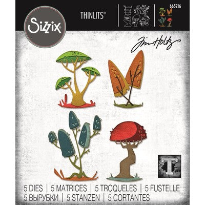 Sizzix Thinlits Dies By Tim Holtz 5/Pkg, Funky Toadstools