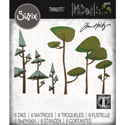 Sizzix Thinlits Dies By Tim Holtz 6/Pkg, Funky Trees