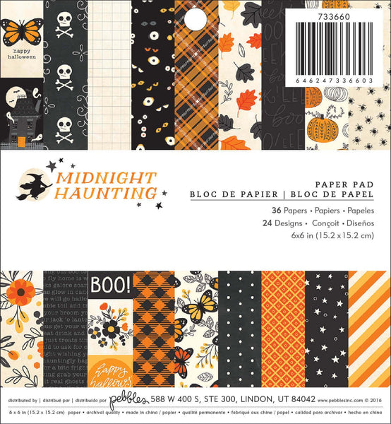 "American Crafts, Pebbles Single-Sided Paper Pad 6""X6"" 36/Pkg Midnight Haunting - Scrapbooking Fairies"