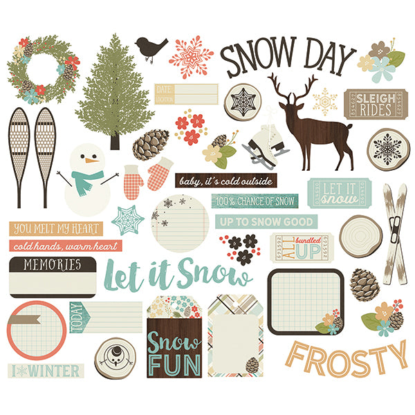 Simple Stories, Winter Wonderland Bits & Pieces Die-Cuts 47/Pkg