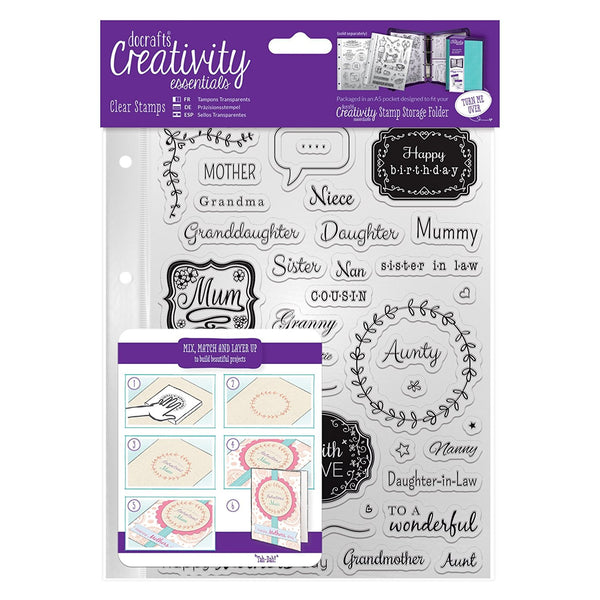 Docraft, Creativity Essentials A5 Clear Stamps-Female Family - Scrapbooking Fairies