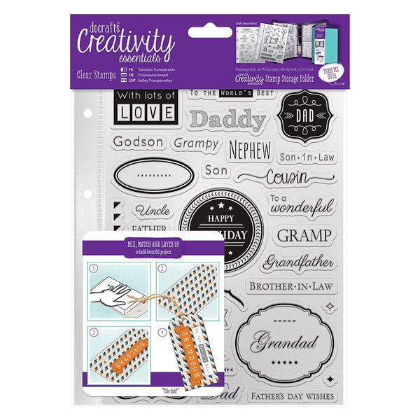 Docraft, Creativity Essentials A5 Clear Stamps, Male Family - Scrapbooking Fairies