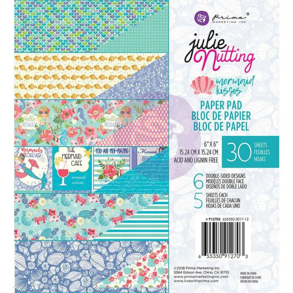 "Prima Marketing Double-Sided Paper Pad 6""X6"" 30/Pkg, Julie Nutting, Mermaid Kisses, 6 Designs/5 Each"