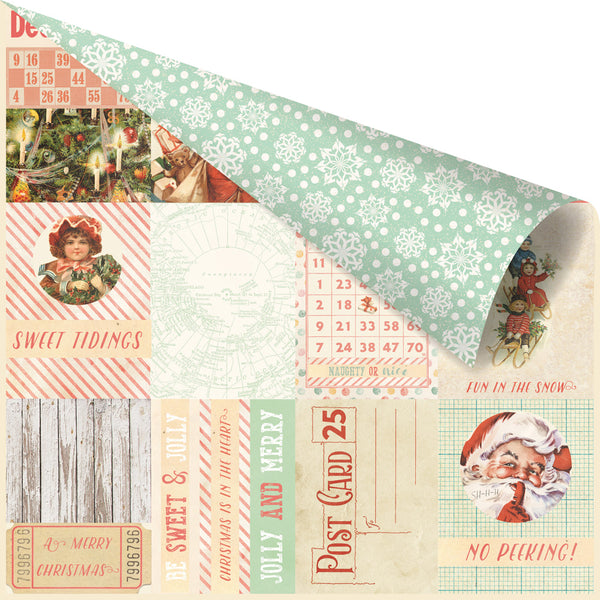"Prima, Sweet Peppermint Double-Sided Cardstock 12""X12"", Oh, So Merry!"