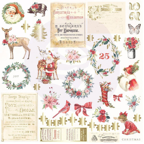 Prima Marketing, Christmas In The Country Cardstock Ephemera 42/Pkg, Shapes, Tags, Words, Foiled Accents