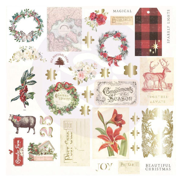 Prima Marketing, Christmas In The Country Cardstock Ephemera 34/Pkg, Shapes, Tags, Words, Foiled Accents