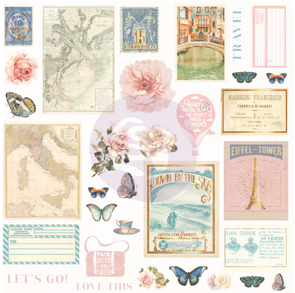 Capri Cardstock Ephemera 32/Pkg, Shapes, Tags, Words, Foiled Accents